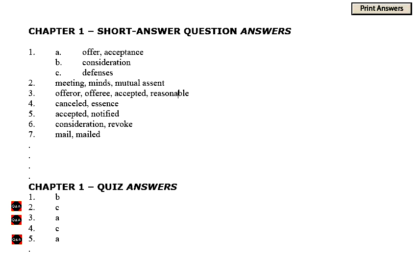 test question and answer